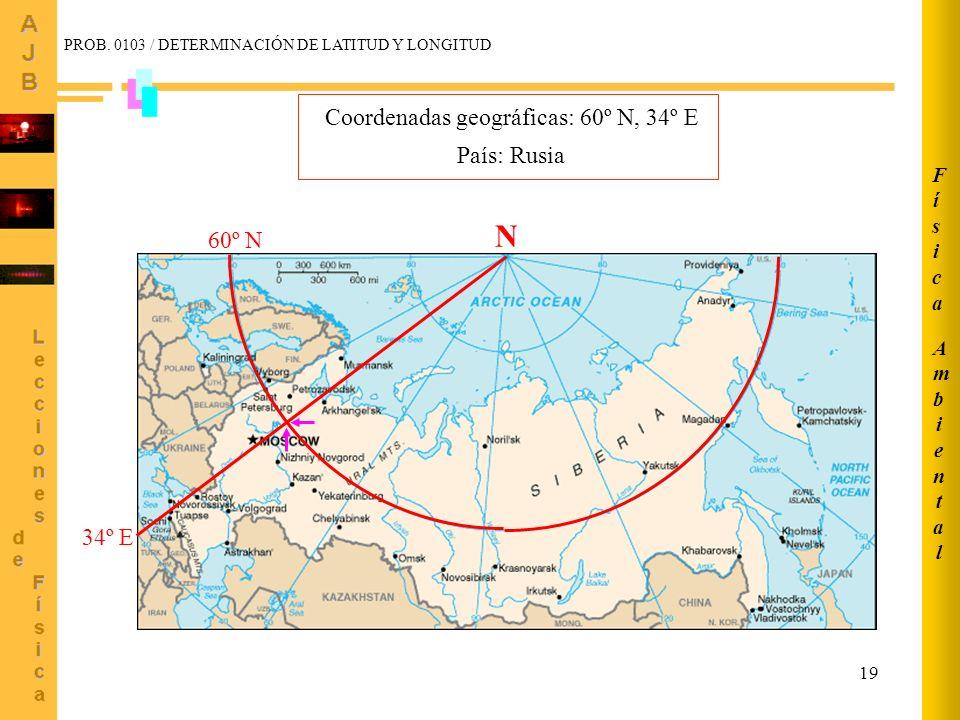 19 34º E 60º N N Coordenadas geográficas: 60º N, 34º E País: Rusia AmbientalAmbiental FísicaFísica PROB. 0103 / DETERMINACIÓN DE LATITUD Y LONGITUD
