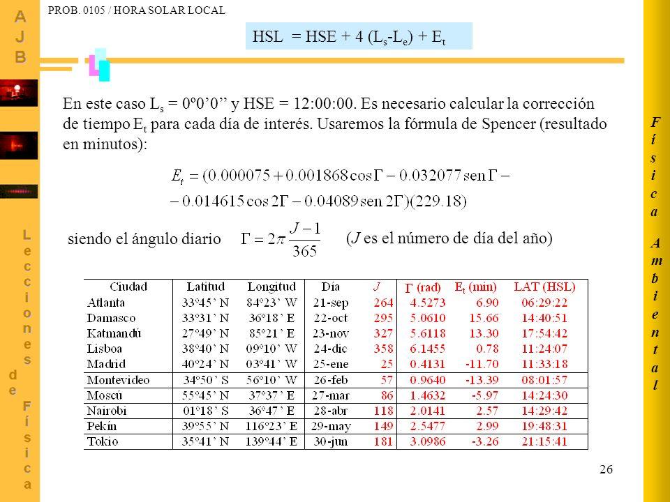 26 HSL = HSE + 4 (L s -L e ) + E t En este caso L s = 0º00 y HSE = 12:00:00. Es necesario calcular la corrección de tiempo E t para cada día de interé