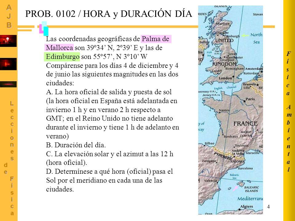 5 Ángulo horario a la salida del sol: Declinaciones: Día 4 junio (J=155) Día 4 diciembre (J=338) Palma Mallorca Edimburgo (4 diciembre) (4 junio) (4 diciembre) (4 junio) Apartado A AmbientalAmbiental FísicaFísica PROB.