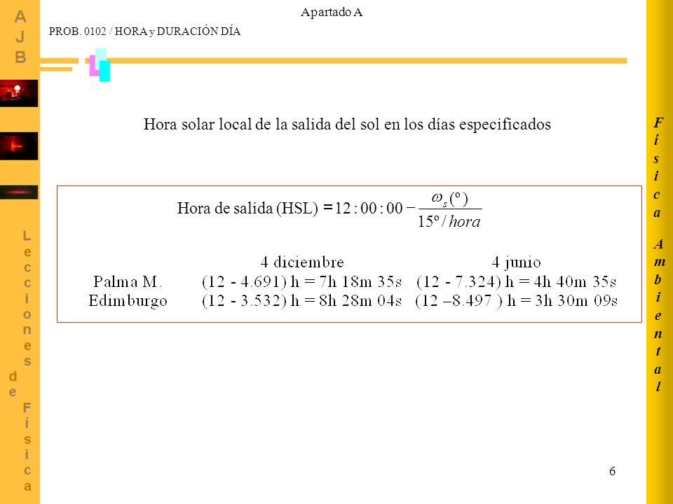 7 AmbientalAmbiental FísicaFísica Hora de salida según meridiano estándar (HSE) HSE = HSL - 4 (L s -L e ) - E t Palma de M.