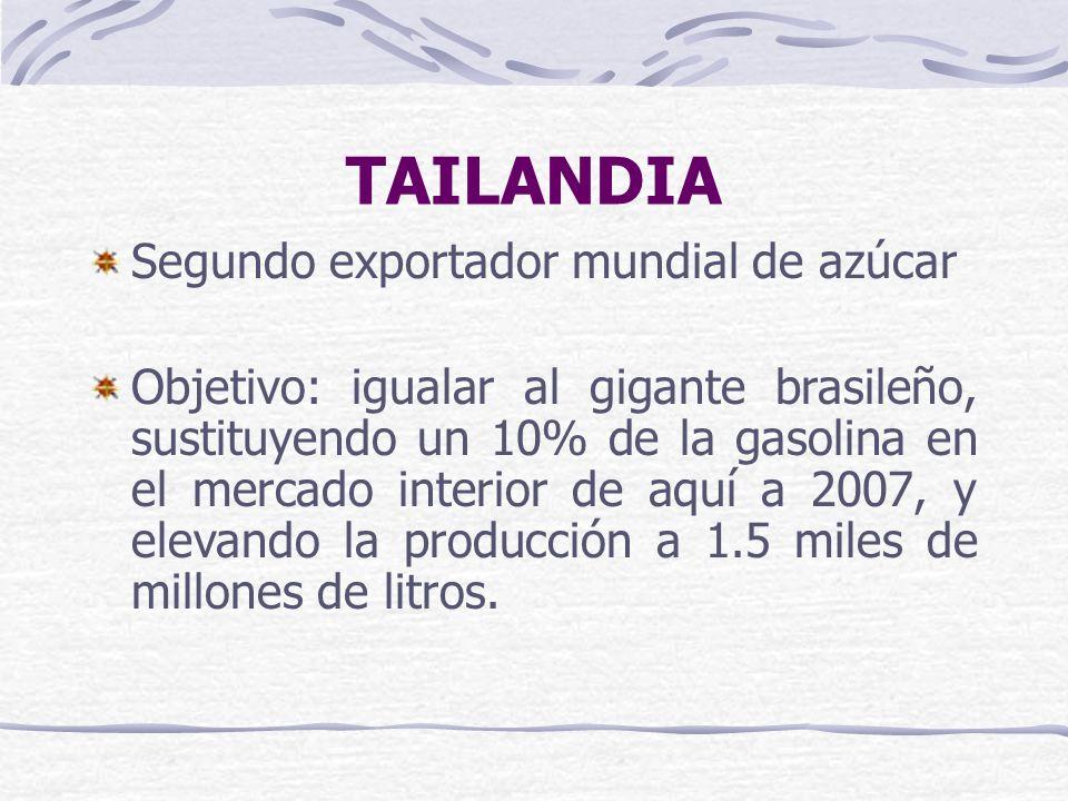 TAILANDIA Segundo exportador mundial de azúcar Objetivo: igualar al gigante brasileño, sustituyendo un 10% de la gasolina en el mercado interior de aq