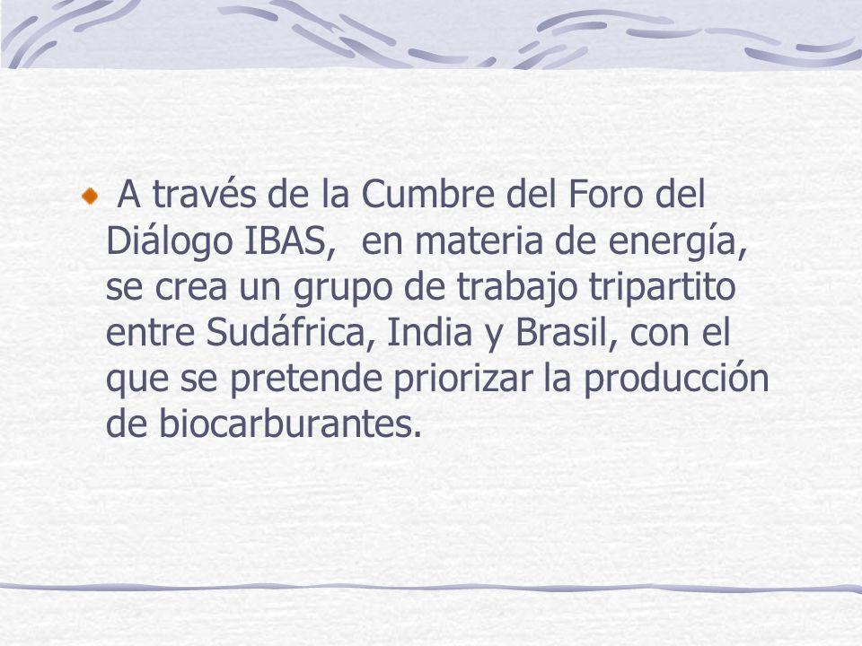A través de la Cumbre del Foro del Diálogo IBAS, en materia de energía, se crea un grupo de trabajo tripartito entre Sudáfrica, India y Brasil, con el