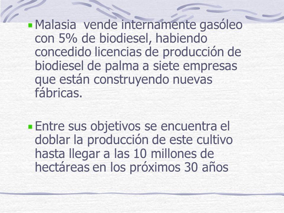 Malasia vende internamente gasóleo con 5% de biodiesel, habiendo concedido licencias de producción de biodiesel de palma a siete empresas que están co