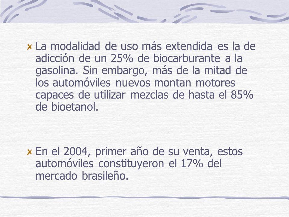 La modalidad de uso más extendida es la de adicción de un 25% de biocarburante a la gasolina. Sin embargo, más de la mitad de los automóviles nuevos m