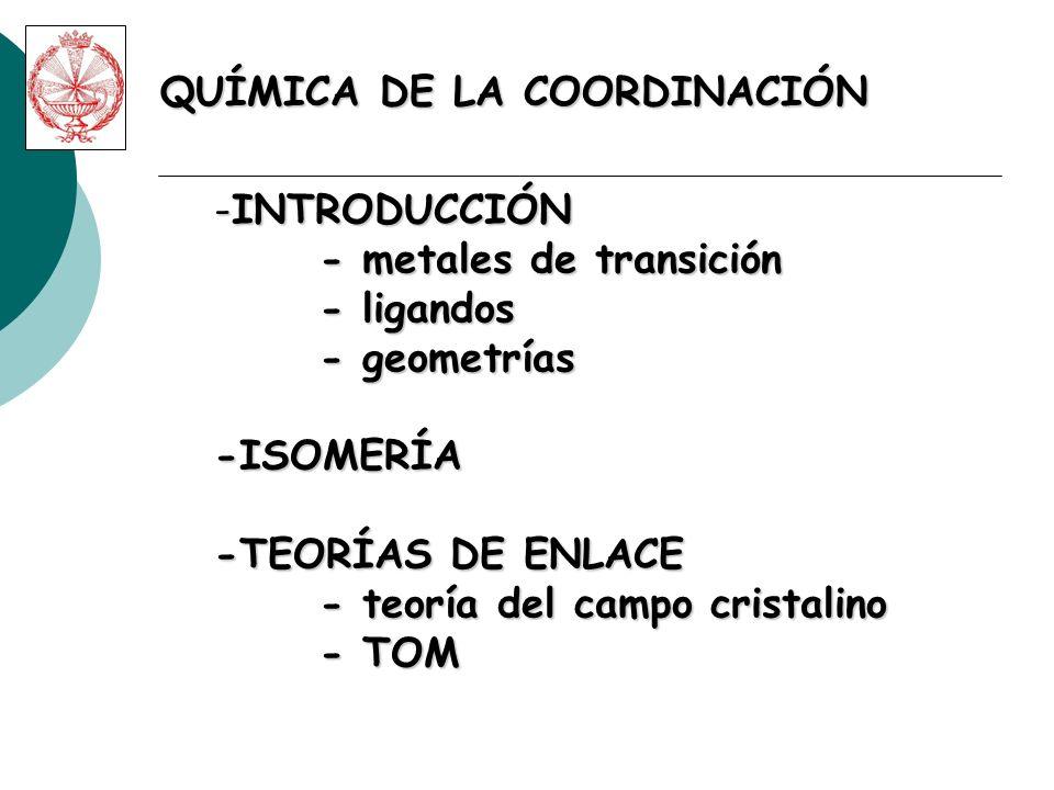 M(n+)L QUÍMICA DE LA COORDINACIÓN COMPLEJO DE COORDINACIÓN M L L L LLL Esfera de coordinación.