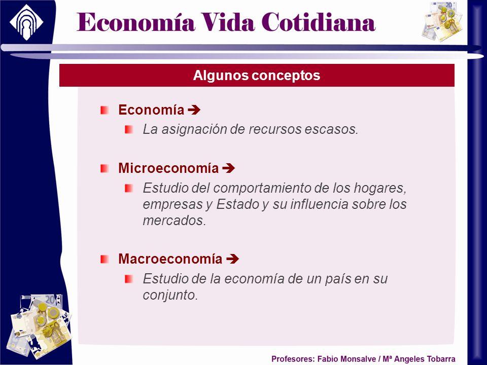 Algunos conceptos Economía La asignación de recursos escasos. Microeconomía Estudio del comportamiento de los hogares, empresas y Estado y su influenc