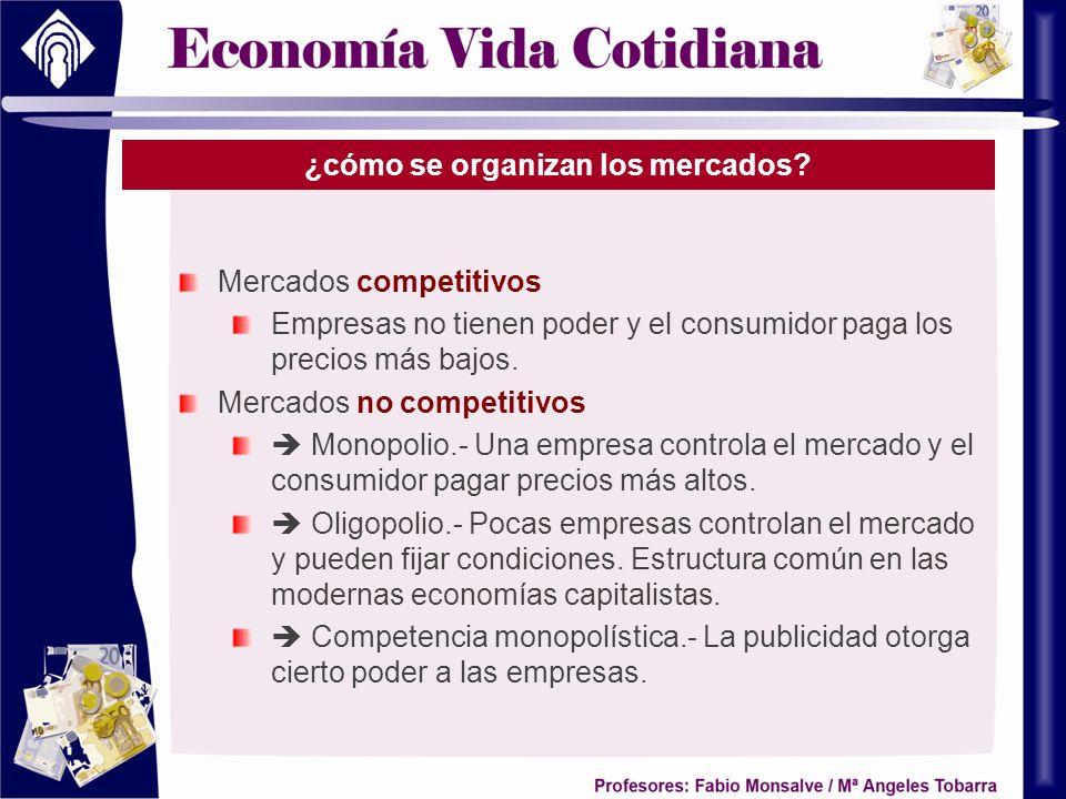 ¿cómo se organizan los mercados? Mercados competitivos Empresas no tienen poder y el consumidor paga los precios más bajos. Mercados no competitivos M