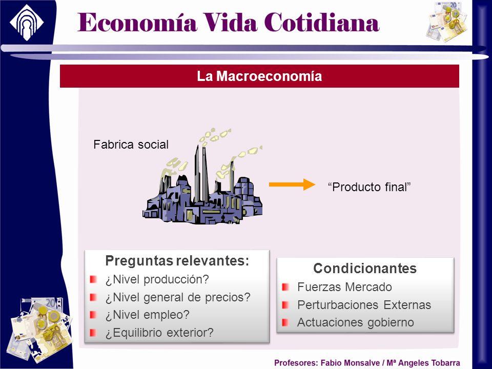 La Macroeconomía Producto final Fabrica social Preguntas relevantes: ¿Nivel producción? ¿Nivel general de precios? ¿Nivel empleo? ¿Equilibrio exterior