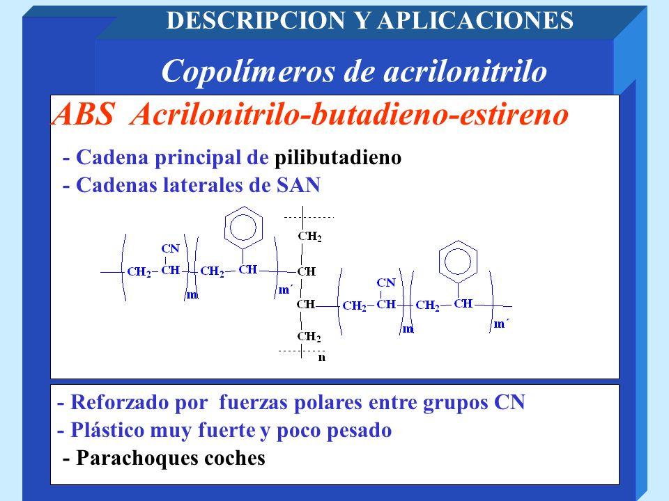 Copolímeros de acrilonitrilo DESCRIPCION Y APLICACIONES - Parachoques coches ABS Acrilonitrilo-butadieno-estireno - Plástico muy fuerte y poco pesado