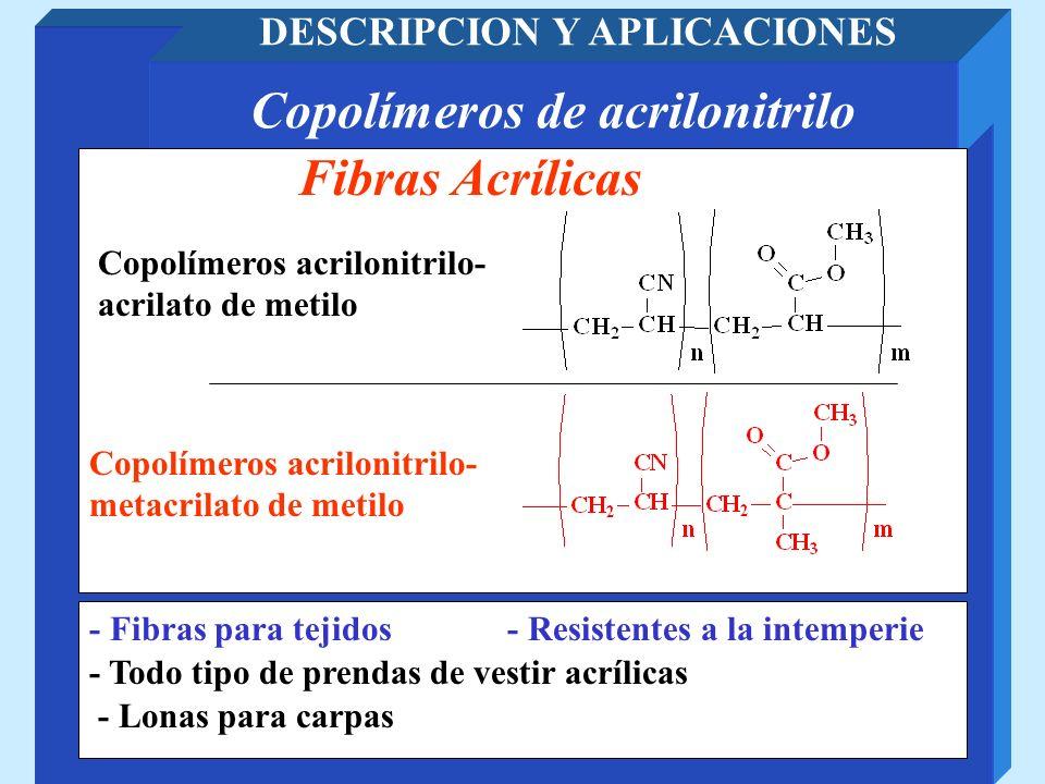 Copolímeros de acrilonitrilo DESCRIPCION Y APLICACIONES - Todo tipo de prendas de vestir acrílicas Fibras Acrílicas - Resistentes a la intemperie Copo