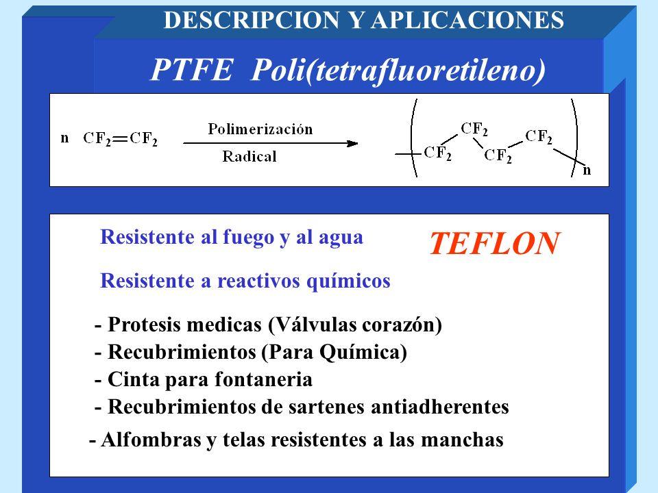PTFE Poli(tetrafluoretileno) DESCRIPCION Y APLICACIONES - Recubrimientos (Para Química) - Cinta para fontaneria Resistente al fuego y al agua Resisten