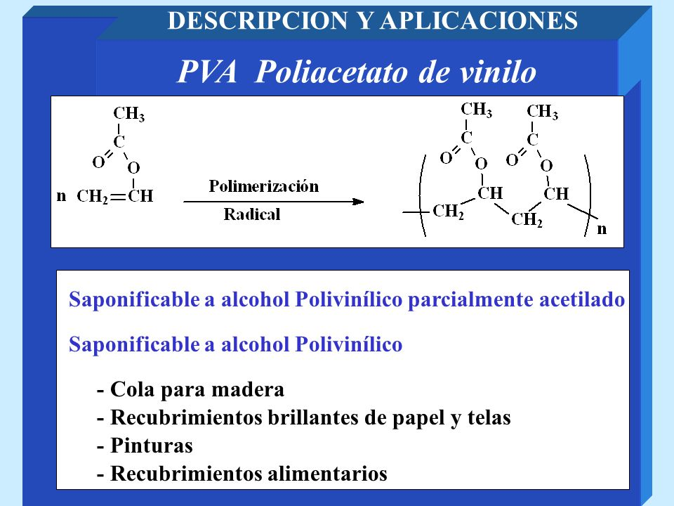 PVA Poliacetato de vinilo DESCRIPCION Y APLICACIONES - Recubrimientos brillantes de papel y telas - Pinturas Saponificable a alcohol Polivinílico - Re