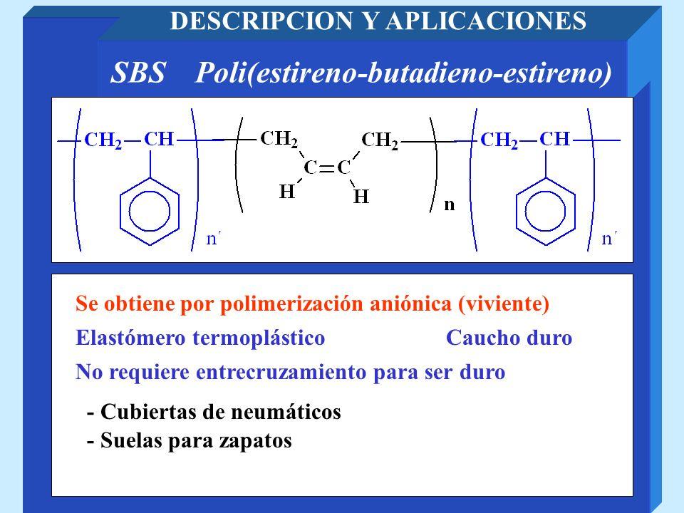 SBS Poli(estireno-butadieno-estireno) DESCRIPCION Y APLICACIONES Caucho duroElastómero termoplástico Se obtiene por polimerización aniónica (viviente)