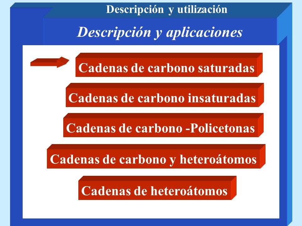 Cadenas de carbono saturadas Policianoacrilatos Polipropileno Poliisobutileno Poliestireno Poliacrilonitrilo Polietileno Poli(cloruro de vinilo) Poli(cloruro de vinilideno) Poli(fluoruro de vinilideno) Poli(tetrafluoretileno) Polimetacrilato de metilo Poliacetato de vinilo Alcohol polivinílico Polivinilpirrolidona SAN ABS Acrilicas