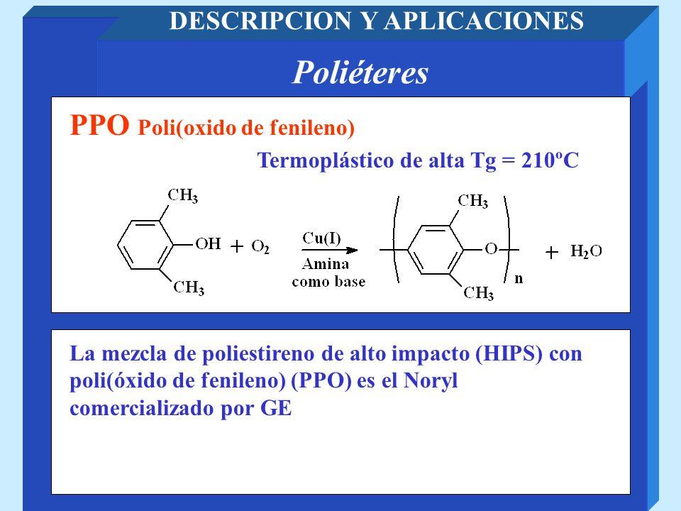 Poliéteres DESCRIPCION Y APLICACIONES Termoplástico de alta Tg = 210ºC PPO Poli(oxido de fenileno) La mezcla de poliestireno de alto impacto (HIPS) co