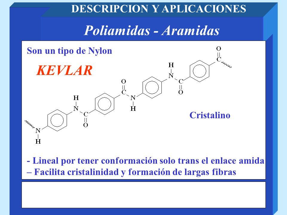 Poliamidas - Aramidas DESCRIPCION Y APLICACIONES Son un tipo de Nylon KEVLAR - Lineal por tener conformación solo trans el enlace amida – Facilita cri