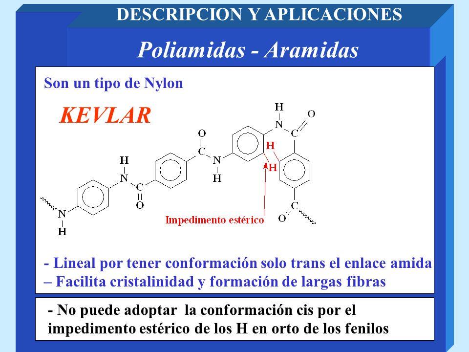 Poliamidas - Aramidas DESCRIPCION Y APLICACIONES - No puede adoptar la conformación cis por el impedimento estérico de los H en orto de los fenilos So
