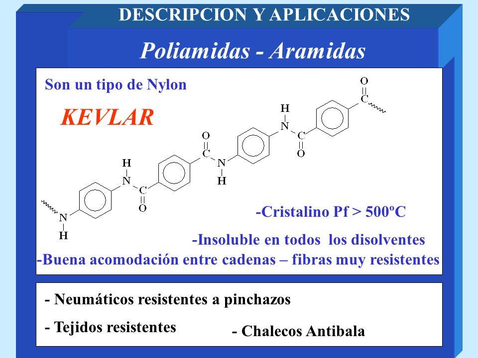 Poliamidas - Aramidas DESCRIPCION Y APLICACIONES - Chalecos Antibala Son un tipo de Nylon KEVLAR -Cristalino Pf > 500ºC -Insoluble en todos los disolv
