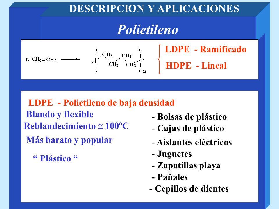 Polietileno DESCRIPCION Y APLICACIONES LDPE - Ramificado HDPE - Polietileno de alta densidad HDPE - Lineal Rígido y duro - Tubos de plástico - Botellas - Fibras para chalecos antibala - Barras para sustituir al hielo en pistas de patinaje UHMWPE – Polietileno de peso molecular ultra alto Peso molecular: entre 200.000 y 500.000 Peso molecular: mayor de 500.000
