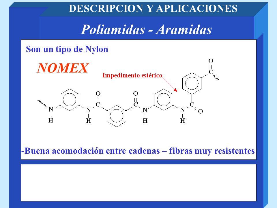 Poliamidas - Aramidas DESCRIPCION Y APLICACIONES Son un tipo de Nylon NOMEX -Buena acomodación entre cadenas – fibras muy resistentes