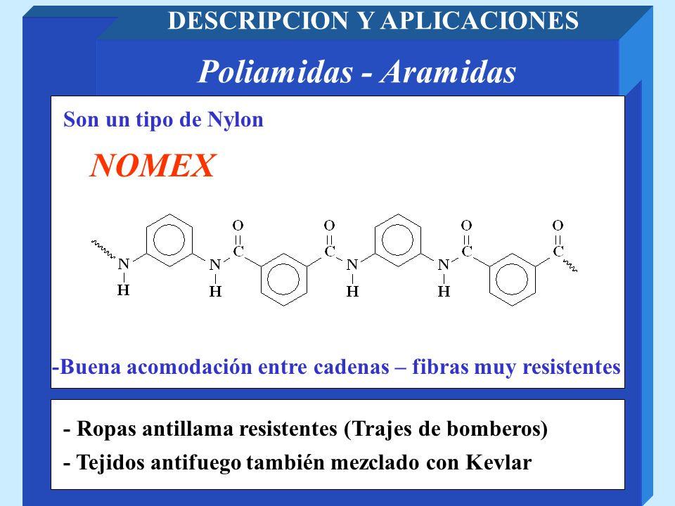 Poliamidas - Aramidas DESCRIPCION Y APLICACIONES Son un tipo de Nylon NOMEX -Buena acomodación entre cadenas – fibras muy resistentes - Ropas antillam