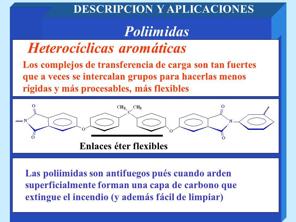 Poliimidas DESCRIPCION Y APLICACIONES Heterocíclicas aromáticas Los complejos de transferencia de carga son tan fuertes que a veces se intercalan grup