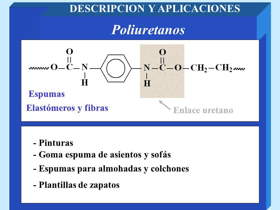 Poliuretanos DESCRIPCION Y APLICACIONES Enlace uretano - Goma espuma de asientos y sofás - Plantillas de zapatos Elastómeros y fibras Espumas - Espuma