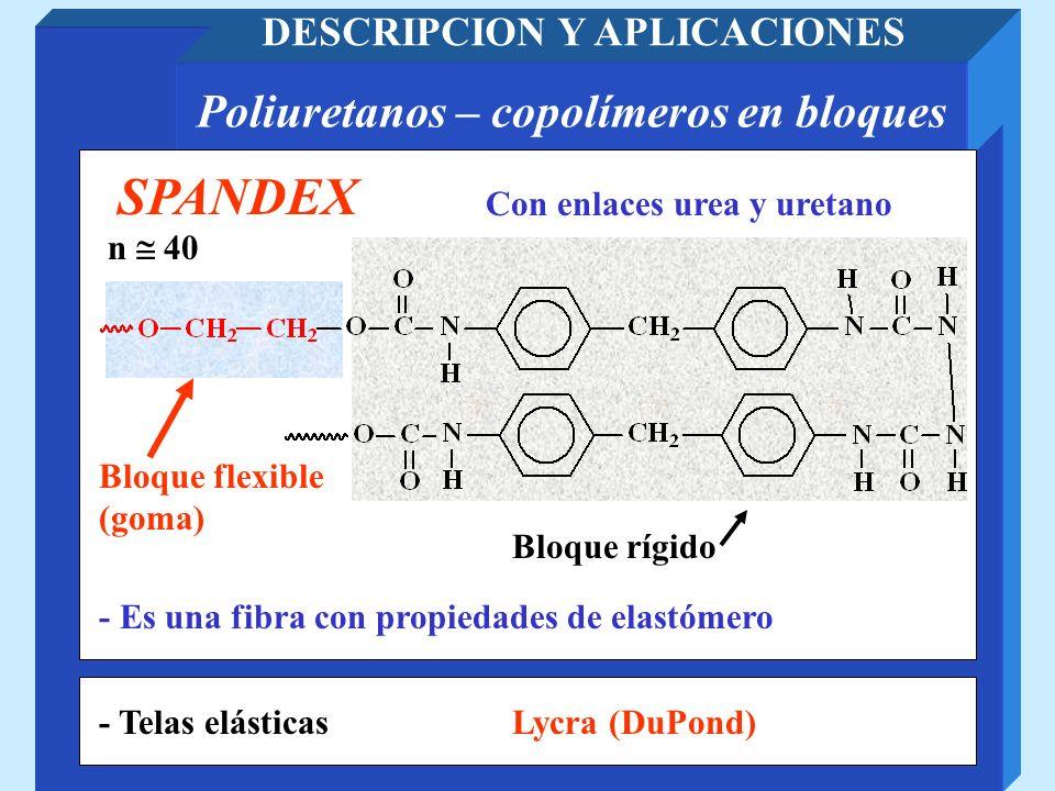 Poliuretanos – copolímeros en bloques DESCRIPCION Y APLICACIONES Con enlaces urea y uretano SPANDEX Bloque rígido n 40 - Telas elásticas Bloque flexib