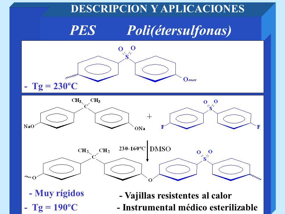 PESPoli(étersulfonas) DESCRIPCION Y APLICACIONES - Instrumental médico esterilizable- Tg = 190ºC - Muy rígidos - Vajillas resistentes al calor - Tg =