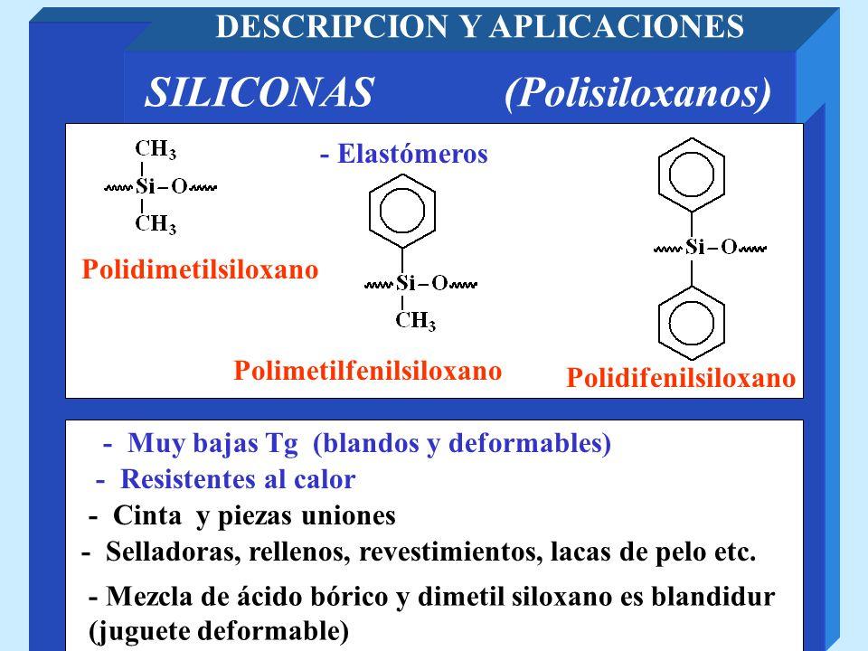 SILICONAS (Polisiloxanos) DESCRIPCION Y APLICACIONES - Mezcla de ácido bórico y dimetil siloxano es blandidur (juguete deformable) - Resistentes al ca