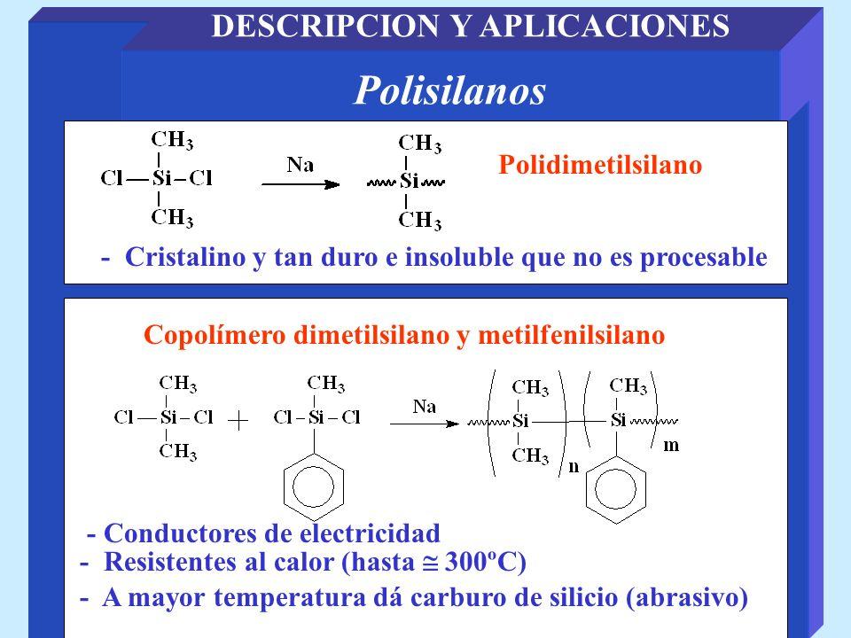 Polisilanos DESCRIPCION Y APLICACIONES Copolímero dimetilsilano y metilfenilsilano Polidimetilsilano - Conductores de electricidad - Cristalino y tan