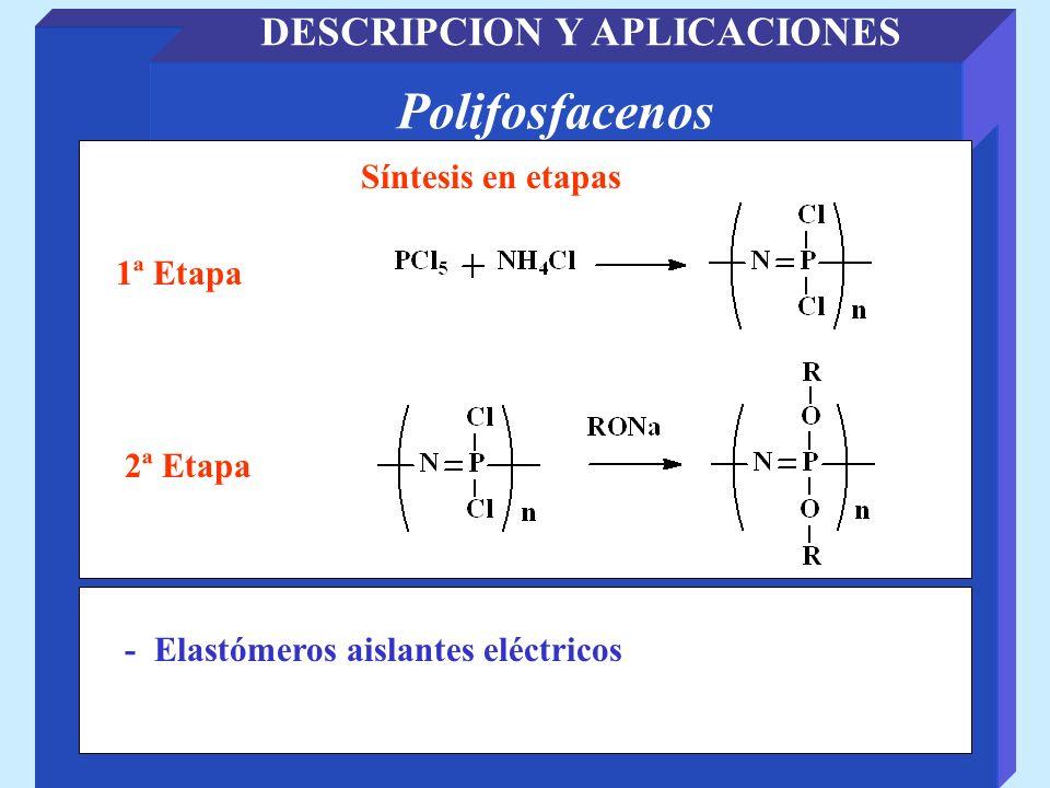 Polifosfacenos DESCRIPCION Y APLICACIONES Síntesis en etapas - Elastómeros aislantes eléctricos 1ª Etapa 2ª Etapa