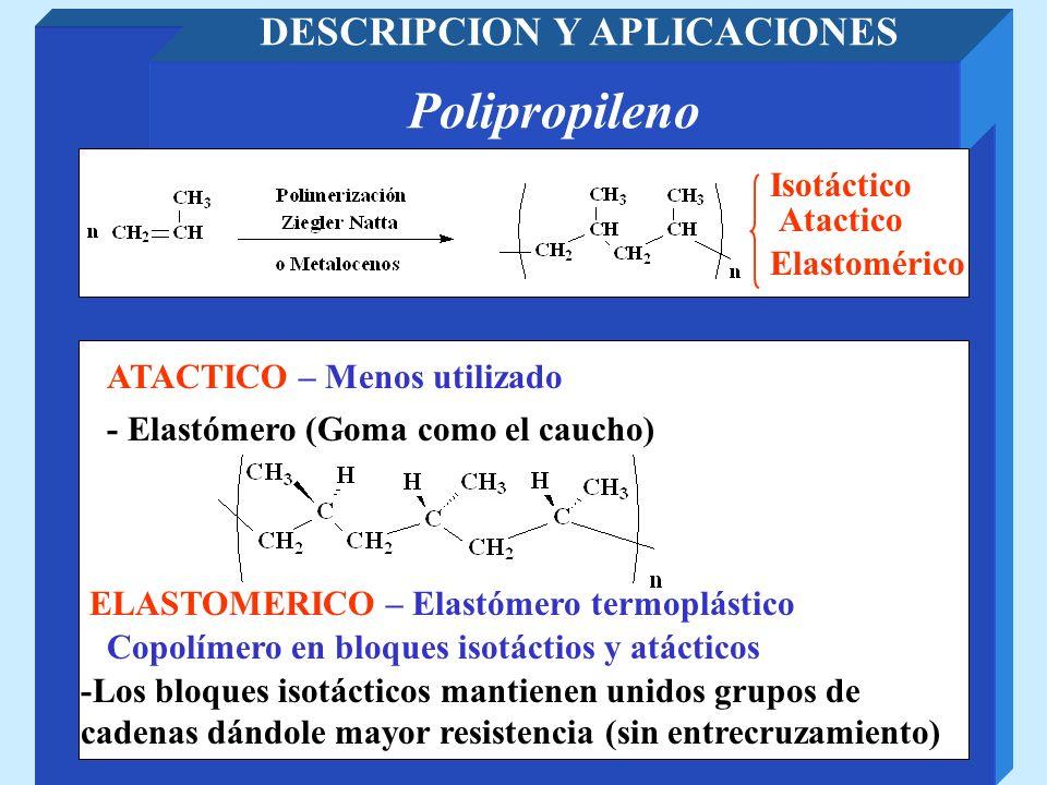 PVDF Poli(fluoruro de vinilideno) DESCRIPCION Y APLICACIONES - Aislantes de cables eléctricos - Recipientes para productos químicos Resistencia térmica y eléctrica Resistente a reactivos químicos Resistencia a la luz ultravioleta - Mezclado con polimetacrilato de metilo lo hace más duradero a la UV Piezoeléctrico - Membrana vibratoria de altavoces piezoeléctricos de agudos (CF 2 muy polar se orienta en el campo eléctrico).