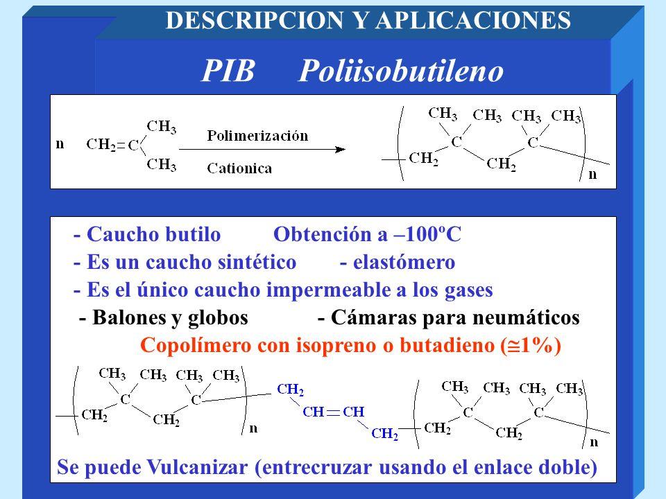 PTFE Poli(tetrafluoretileno) DESCRIPCION Y APLICACIONES - Recubrimientos (Para Química) - Cinta para fontaneria Resistente al fuego y al agua Resistente a reactivos químicos - Recubrimientos de sartenes antiadherentes - Alfombras y telas resistentes a las manchas - Protesis medicas (Válvulas corazón) TEFLON