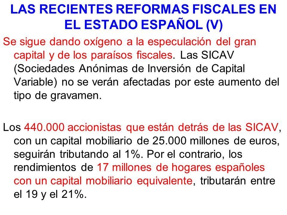 LAS RECIENTES REFORMAS FISCALES EN EL ESTADO ESPAÑOL (V) Se sigue dando oxígeno a la especulación del gran capital y de los paraísos fiscales. Las SIC
