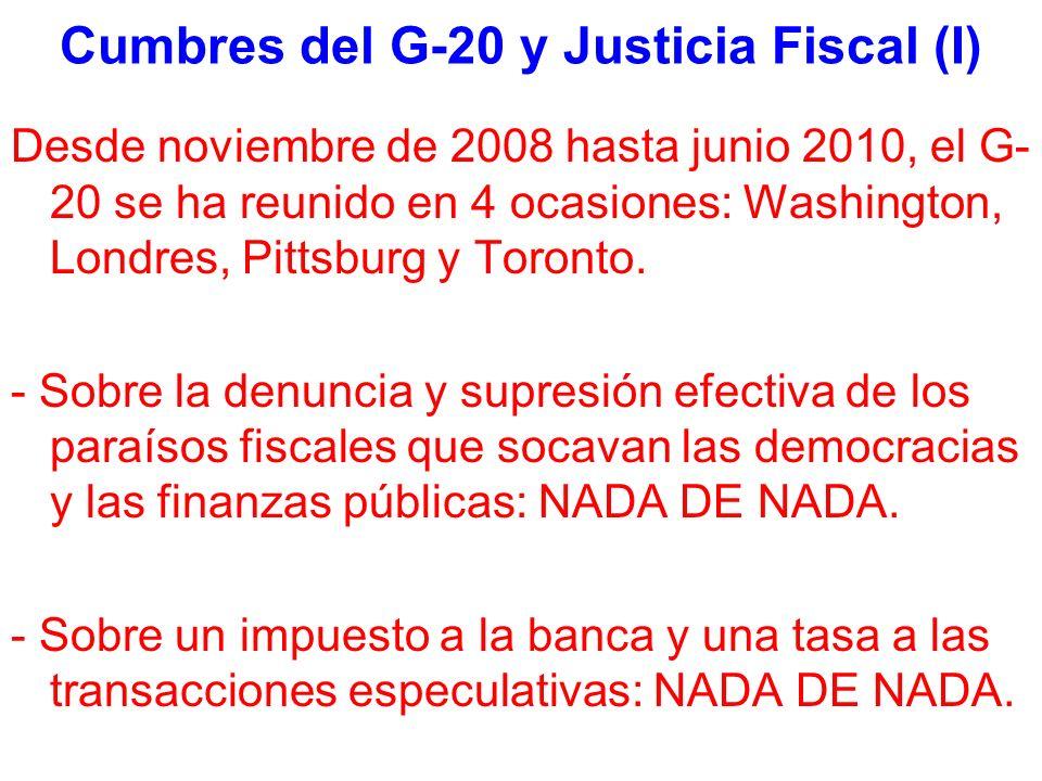 Cumbres del G-20 y Justicia Fiscal (I) Desde noviembre de 2008 hasta junio 2010, el G- 20 se ha reunido en 4 ocasiones: Washington, Londres, Pittsburg y Toronto.