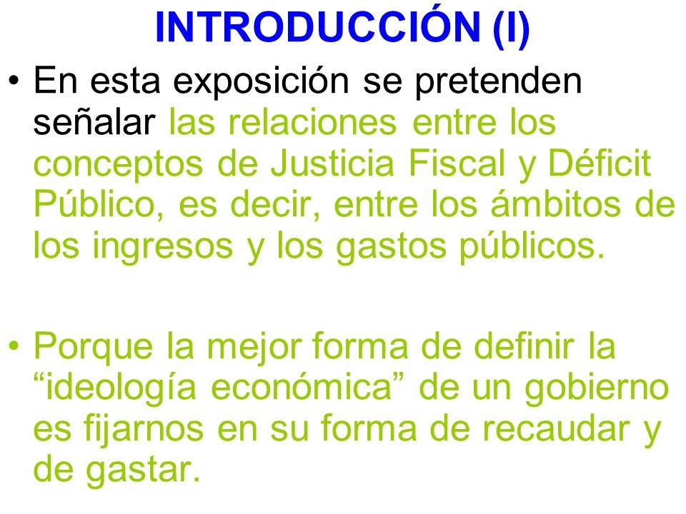 INTRODUCCIÓN (I) En esta exposición se pretenden señalar las relaciones entre los conceptos de Justicia Fiscal y Déficit Público, es decir, entre los ámbitos de los ingresos y los gastos públicos.