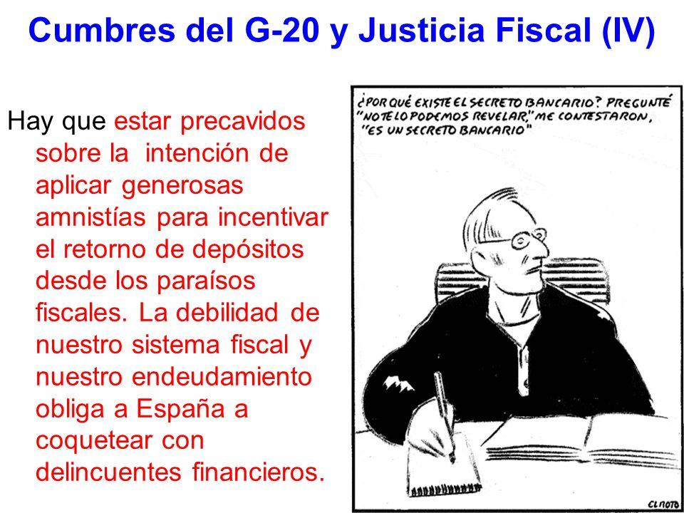 Cumbres del G-20 y Justicia Fiscal (IV) Hay que estar precavidos sobre la intención de aplicar generosas amnistías para incentivar el retorno de depósitos desde los paraísos fiscales.