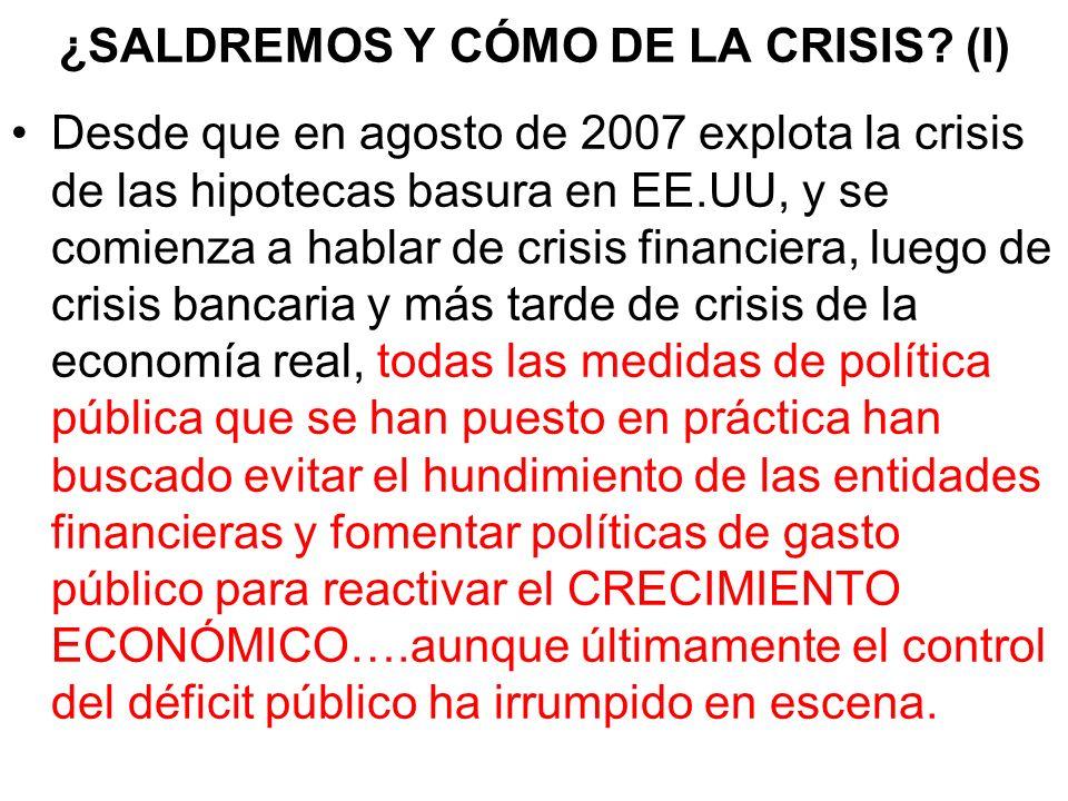 ¿SALDREMOS Y CÓMO DE LA CRISIS? (I) Desde que en agosto de 2007 explota la crisis de las hipotecas basura en EE.UU, y se comienza a hablar de crisis f