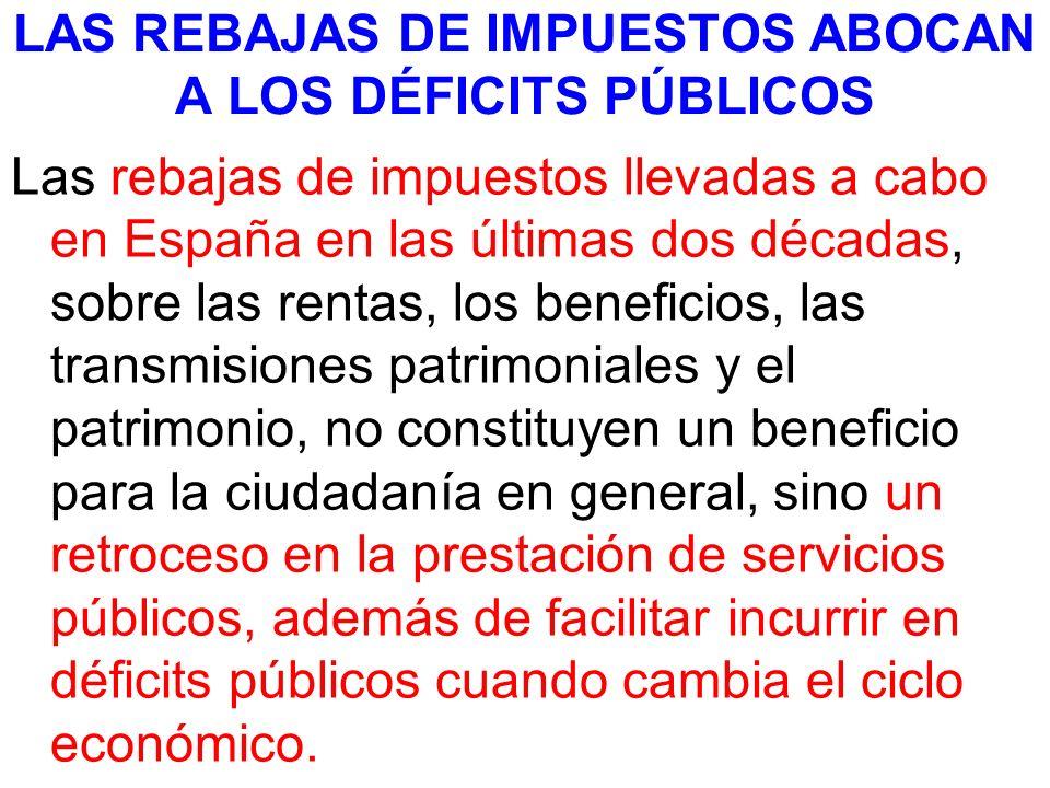 LAS REBAJAS DE IMPUESTOS ABOCAN A LOS DÉFICITS PÚBLICOS Las rebajas de impuestos llevadas a cabo en España en las últimas dos décadas, sobre las renta