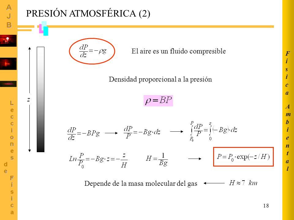 18 z Densidad proporcional a la presión El aire es un fluido compresible Depende de la masa molecular del gas PRESIÓN ATMOSFÉRICA (2) AmbientalAmbiental FísicaFísica