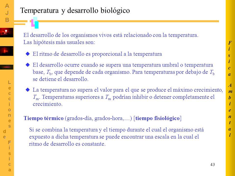 43 Temperatura y desarrollo biológico El desarrollo de los organismos vivos está relacionado con la temperatura.