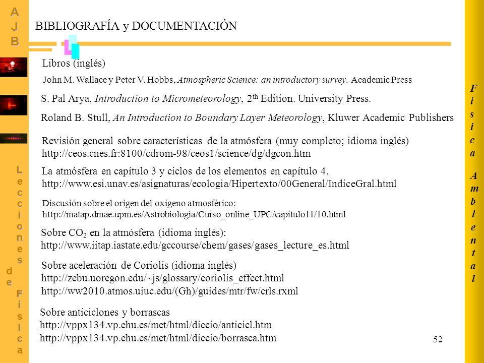 52 Sobre aceleración de Coriolis (idioma inglés) http://zebu.uoregon.edu/~js/glossary/coriolis_effect.html http://ww2010.atmos.uiuc.edu/(Gh)/guides/mtr/fw/crls.rxml Sobre anticiclones y borrascas http://vppx134.vp.ehu.es/met/html/diccio/anticicl.htm http://vppx134.vp.ehu.es/met/html/diccio/borrasca.htm Sobre CO 2 en la atmósfera (idioma inglés): http://www.iitap.iastate.edu/gccourse/chem/gases/gases_lecture_es.html Libros (inglés) BIBLIOGRAFÍA y DOCUMENTACIÓN S.