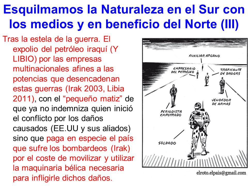 Esquilmamos la Naturaleza en el Sur con los medios y en beneficio del Norte (III) Tras la estela de la guerra.