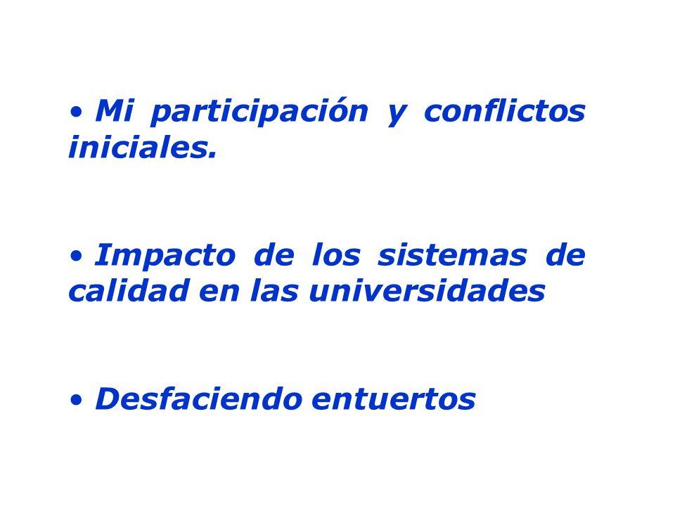 Mi participación y conflictos iniciales. Impacto de los sistemas de calidad en las universidades Desfaciendo entuertos