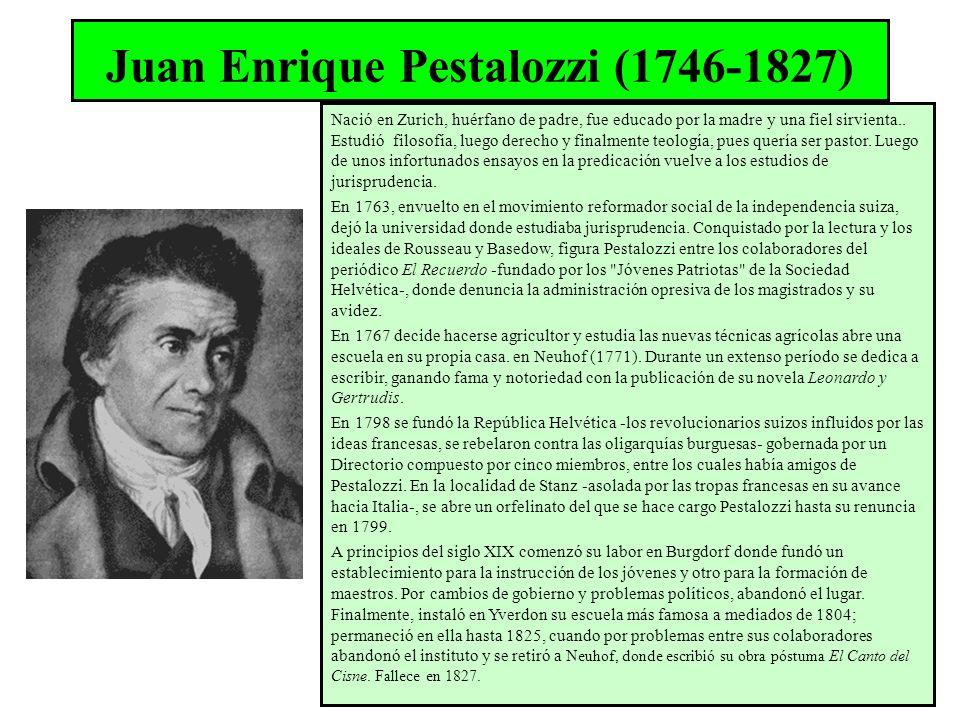 Juan Enrique Pestalozzi (1746-1827) Nació en Zurich, huérfano de padre, fue educado por la madre y una fiel sirvienta.. Estudió filosofía, luego derec