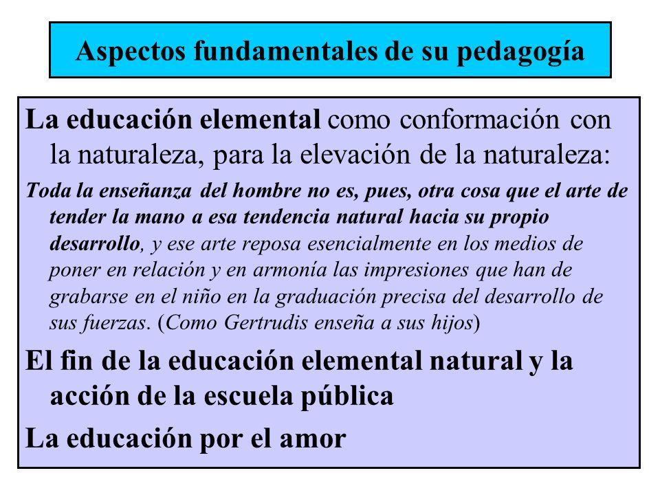 La educación elemental como conformación con la naturaleza, para la elevación de la naturaleza: Toda la enseñanza del hombre no es, pues, otra cosa qu