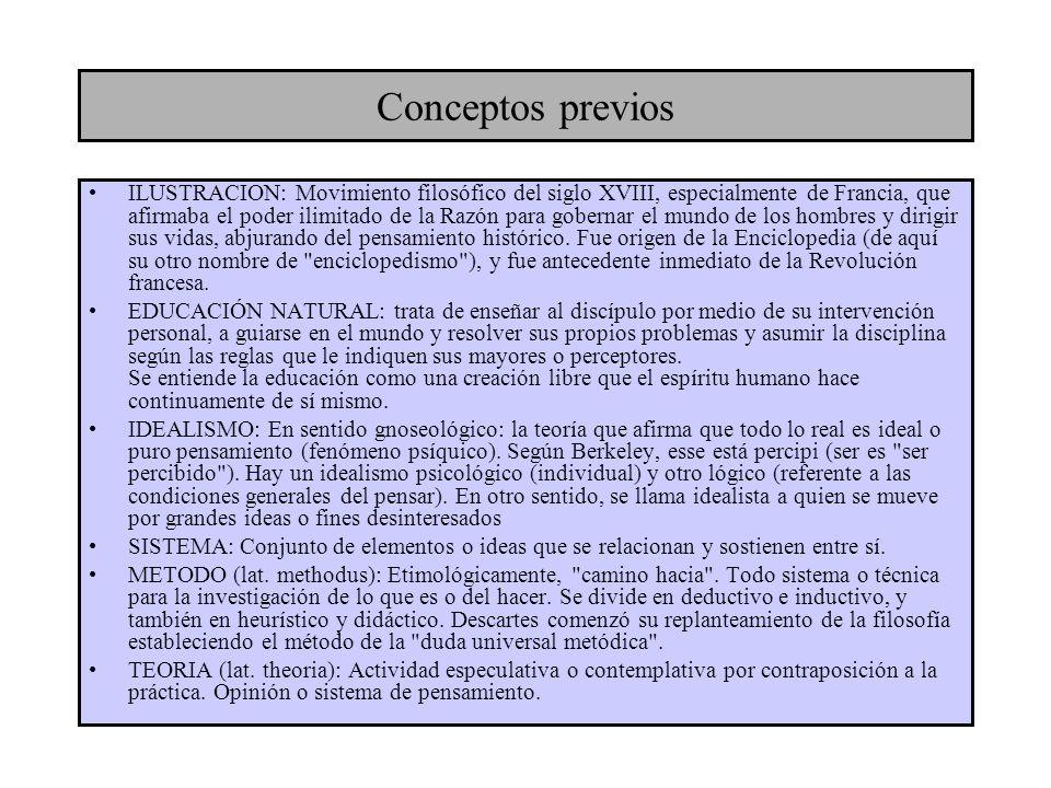 Conceptos previos ILUSTRACION: Movimiento filosófico del siglo XVIII, especialmente de Francia, que afirmaba el poder ilimitado de la Razón para gober