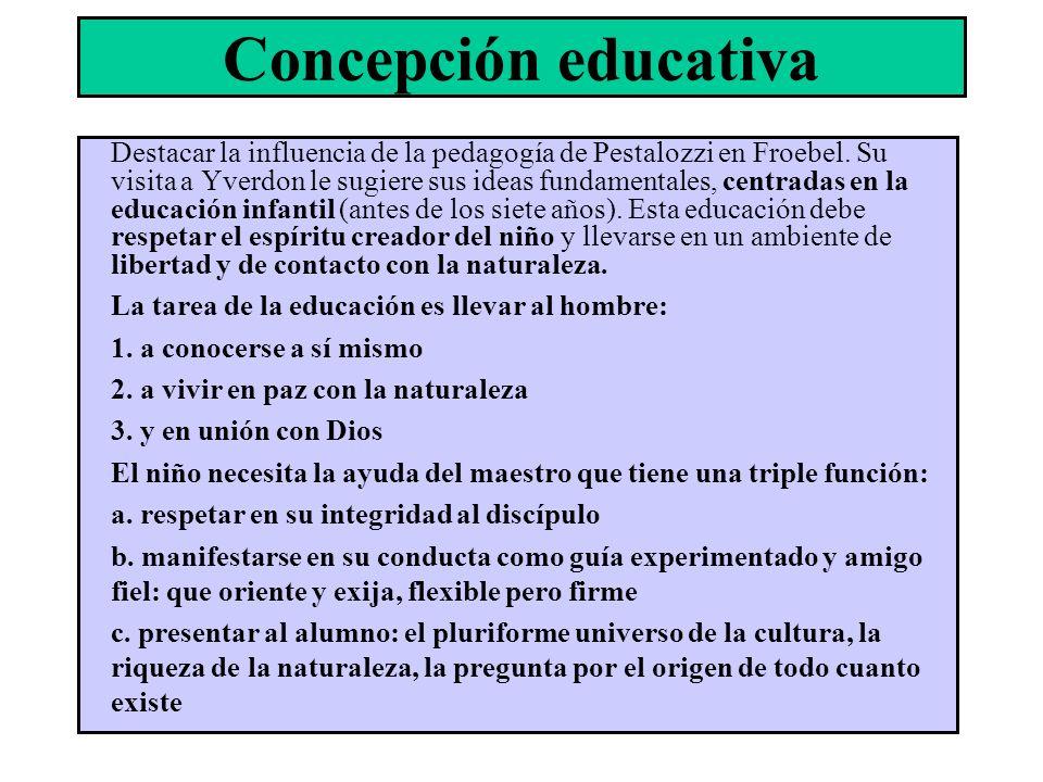 Concepción educativa Destacar la influencia de la pedagogía de Pestalozzi en Froebel. Su visita a Yverdon le sugiere sus ideas fundamentales, centrada