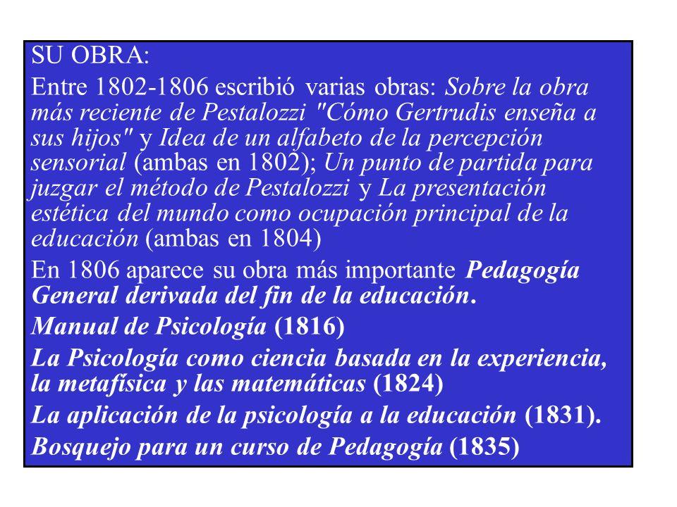 SU OBRA: Entre 1802-1806 escribió varias obras: Sobre la obra más reciente de Pestalozzi